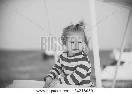 Child Childhood Children Happiness Concept. Sea Voyage And Cruise. Childhood And Happiness Concept.