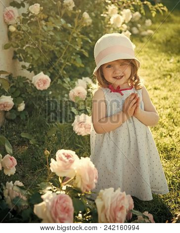 Happy Kid Having Fun. Child Smiling At Blossoming Rose Flowers On Green Grass. Girl In Hat With Pray