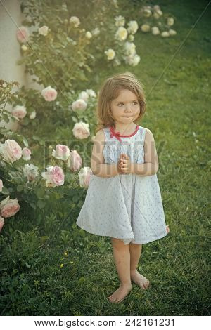 Happy Kid Having Fun. Girl With Praying Hands In Summer Garden. Innocence, Purity And Youth Concept.
