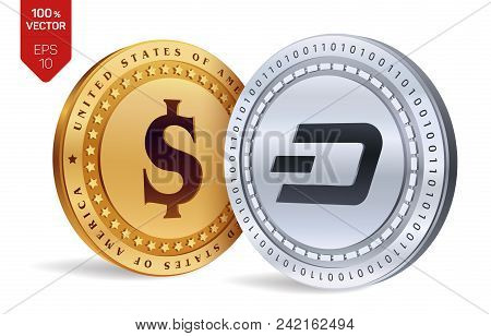 Dash. Dollar Coin. 3d Isometric Physical Coins. Digital Currency. Cryptocurrency. Golden And Silver