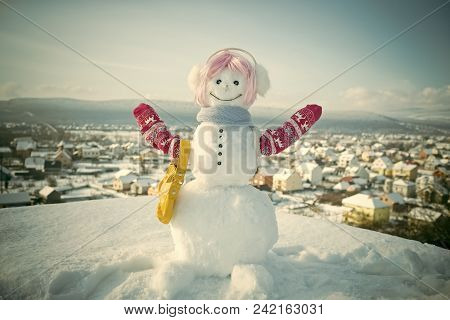 Happy New Year With Snowman. Snowmans Happy Couple. Snowmans Celebration. Snowman In Pink Wig, Mitte
