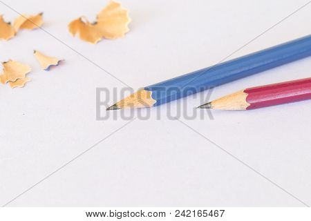 Pencil Sharpen Stationery For Writing On Background White