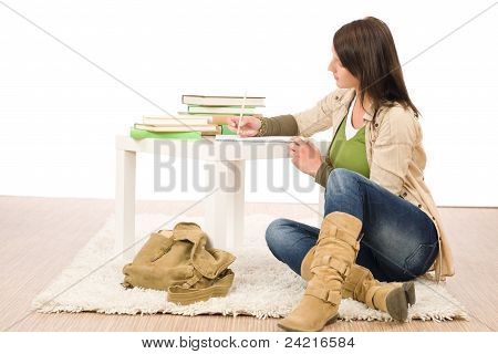Student Teenager Girl Write Homework Sitting Floor