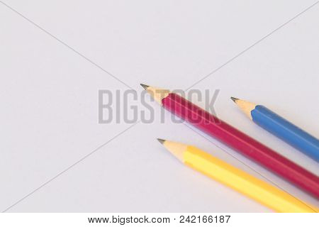 Pencil Stationery For Writing On Background White