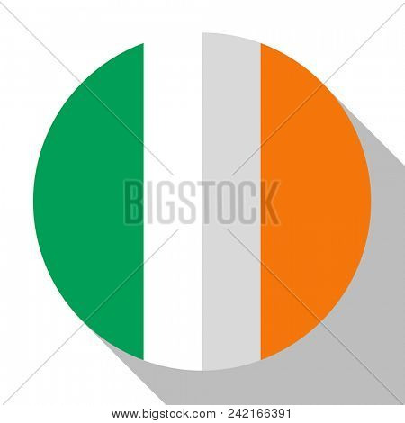 Flag Ireland - round flatstyle button with a shadow.
