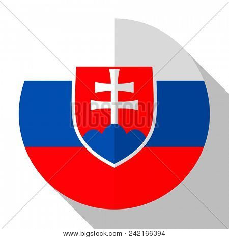 Flag Slovakia - round flatstyle button with a shadow.
