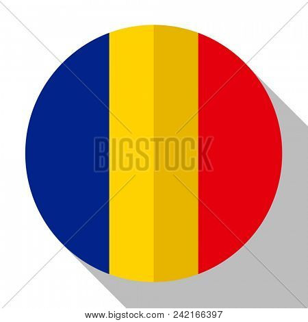 Flag Romania - round flatstyle button with a shadow.