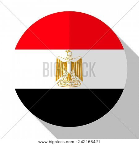Flag Egypt - round flatstyle button with a shadow.