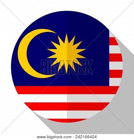 Flag Malaysia - round flatstyle button with a shadow.