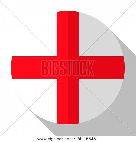 Flag England - round flatstyle button with a shadow.