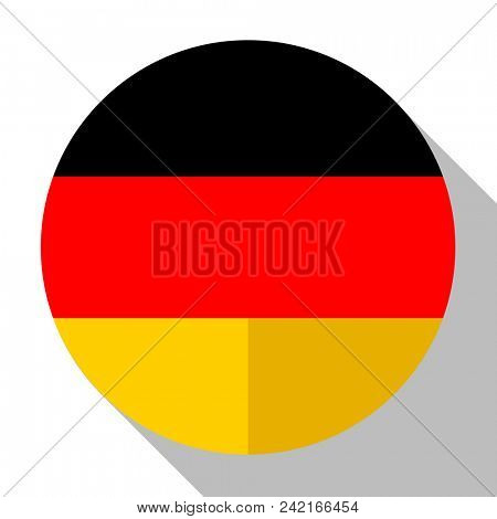 Flag Germany - round flatstyle button with a shadow.