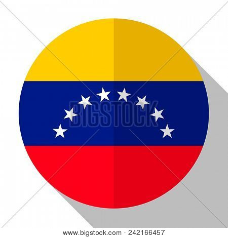 Flag Venezuela - round flatstyle button with a shadow.