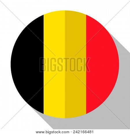 Flag Belgium - round flatstyle button with a shadow.