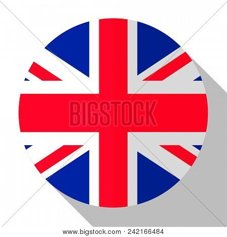 Flag UK - round flatstyle button with a shadow.