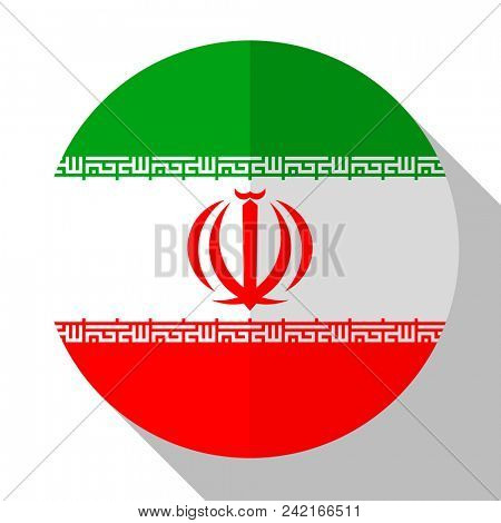 Flag Iran - round flatstyle button with a shadow.