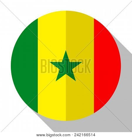 Flag Senegal - round flatstyle button with a shadow.