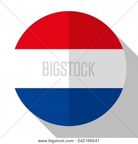 Flag Netherlands - round flatstyle button with a shadow.