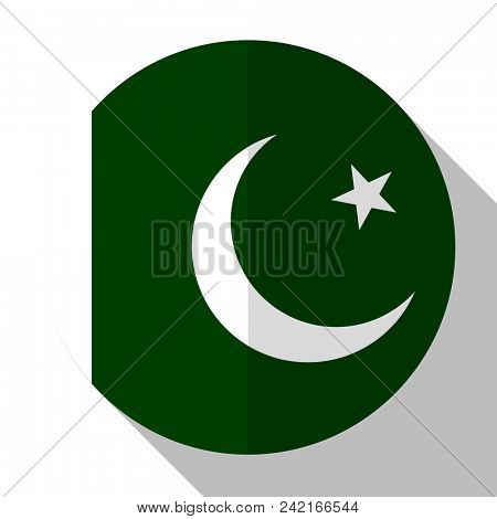 Flag Pakistan - round flatstyle button with a shadow.