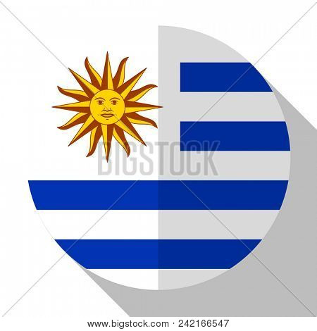 Flag Uruguay - round flatstyle button with a shadow.
