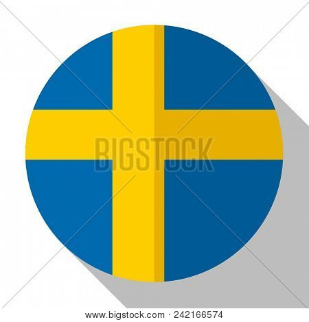 Flag Sweden - round flatstyle button with a shadow.