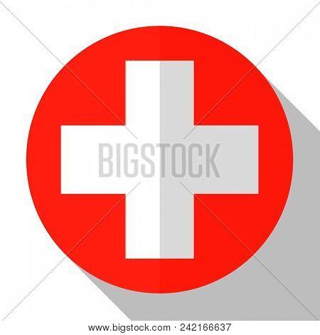 Flag Switzerland - round flatstyle button with a shadow.