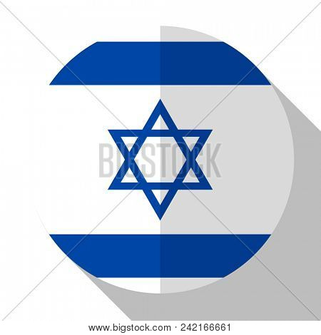 Flag Israel - round flatstyle button with a shadow.