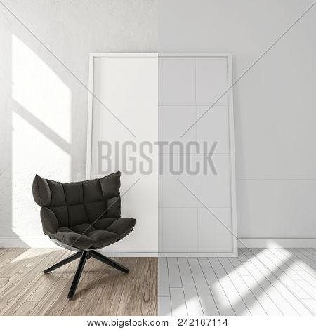 Comfortable black chair in bright room, on laminate floor. Right side of the image is black and white with copy space. 3d Rendering