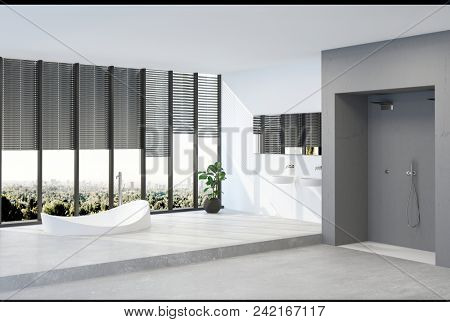 A modern minimalist penthouse bathroom interior with sweeping views across a city park. 3d Rendering