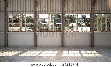 Empty interior of a brightly lit rustic industrial warehouse with rusty window frames, hanging lights and corrugated iron cladding. 3d rendering