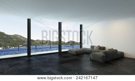 A modern, minimalist, luxury penthouse living area with a pool and vast mountain views. 3d rendering