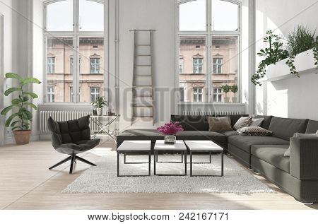 Spacious urban apartment living room with potted plants and comfortable upholstered sofa and chair lit by two tall arched windows. 3d rendering