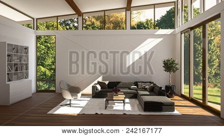 Luxury bright glass walled living room interior overlooking a wooded garden with upholstered sofa and chairs and a wall unit. 3d rendering
