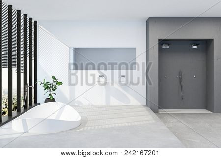 Modern luxury bathroom with sunken tub in a raised platform in front of long windows with blinds in a bright airy room with doors. 3d Rendering