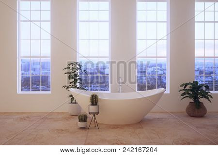 Freestanding bathtub in a loft bathroom interior. 3d rendering