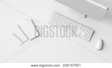 Neat clean pure white workstation or mockup with notebooks, desktop computer monitor, keyboard and mouse viewed from overhead with copy space. 3d rendering