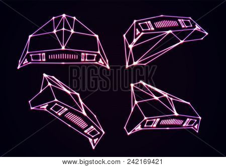 Neon Space Ships Set Of Attacking Invaders Or Defending Fighters With 80s Retro Arcade Game Style An