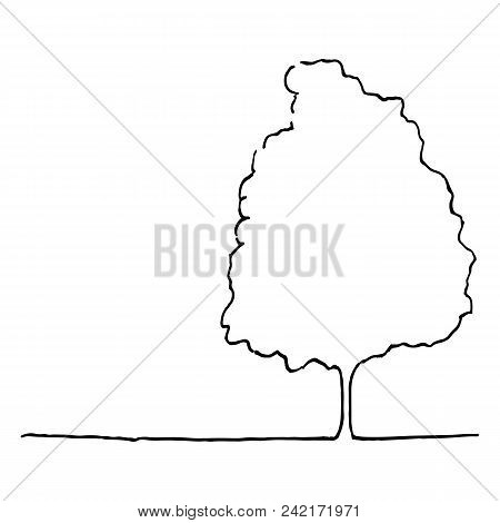 Monochrome Tree Silhouette Line Art Sketch Isolated Vector