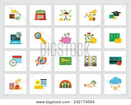 Deposit Account Concept. Flat Icon Set. Saving, Investment, Income. Can Be Used For Topics Like Fina