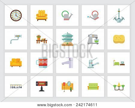 Domestic Appliances Concept. Flat Icon Set. Home, Furniture, Domestic Life. Can Be Used For Topics L