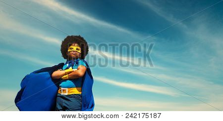 Strong superhero girl with superpowers