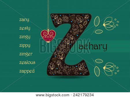 Name Day Card For Zachary. Artistic Brown Letter Z With Golden Floral Decor. Vintage Red Heart With