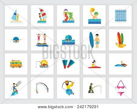 Water Sport Concept. Flat Icon Set. Swimming Pool, Competition, Leisure. Can Be Used For Topics Like
