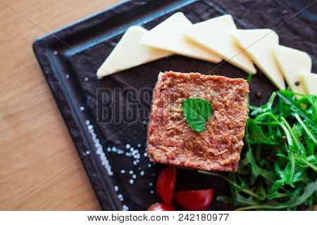 Tatar Beefsteak. Restaurant Dish Concept Close Up Picture