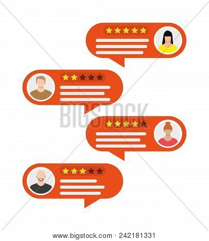 Rating App. Bubble Speeches And Avatars. Reviews Five Stars Rating With Good And Bad Rate And Text.