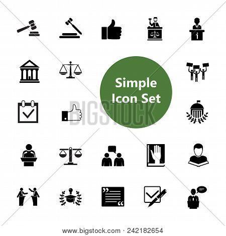Icon Set Of Jurisprudence Signs. Court, Juridical System, Election Campaign. Law Concept. For Topics