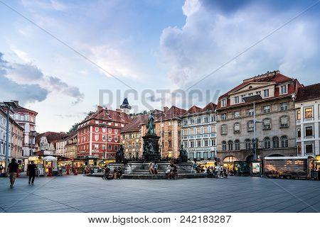Graz, Austria - August 11, 2017: Hauptplatz Square In Historical City Center Of Graz With Schlossber