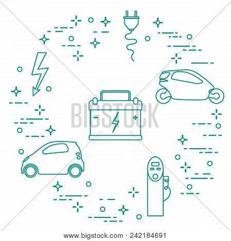 Electric Cars, Battery, Charging Station, Electrical Safety Sign, Cable, Electrical Plug. New Transp