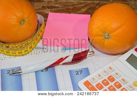 Citrus Fruits. Concept Of Weight Loss. Healthy Lifestyle Diet With Fresh Fruits. Diet Concept, Fruit