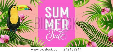 Summer Sale Pink Banner Design With Palm Leaves, Tropical Flowers And Toucan Bird. Text Can Be Used