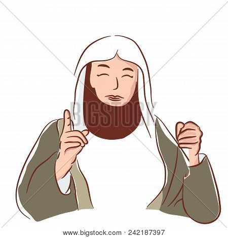 Arabic People Scholar With Beard Islam Talkteaching Preacher Vector Drawing